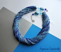 "Beaded necklace ""Winter evening"""
