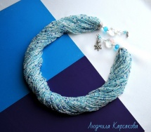 "Beaded necklace ""Snowy morning"""